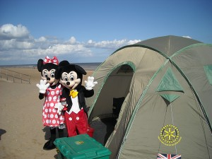 Micky and Minnie Mouse visit our ShelterBox