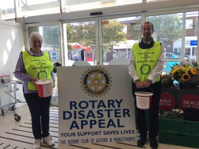 Chris and Kath collecting in Mablethorpe Co-op