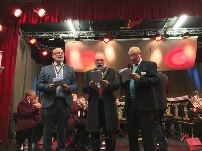 Mablethorpe's first boy band - Club President Nigel Collins, ELDC Leader Tony Howard and Councillor Bob Dawes