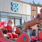 Santa on his sleigh at Sutton Co-op
